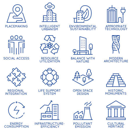 Vector set of thin linear 16 icons related to technology for intelligent urbanism, smart city and urban development. Mono line pictograms and infographics design elements - part 1 Illustration