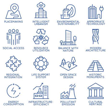 Vector set dunne lineaire 16 iconen gerelateerd aan technologie voor intelligent urbanisme, slimme stad en stedelijke ontwikkeling. Mono lijnpictogrammen en infographics designelementen - deel 1