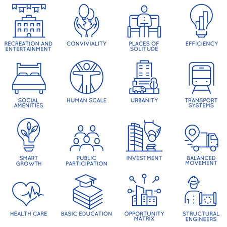 Vector set of thin linear 16 icons related to technology for intelligent urbanism, smart city and urban development. Mono line pictograms and infographics design elements - part 2