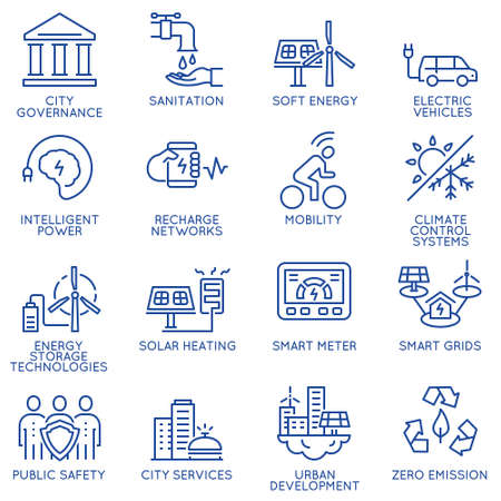 zero emission: Vector set of thin linear 16 icons related to technology for intelligent urbanism, smart city and urban development. Mono line pictograms and infographics design elements - part 3