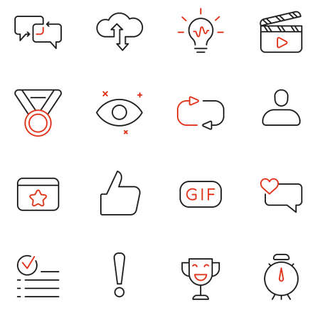 Vector Set Of Linear Icons Related to Feedback, Review and Customer Relationship Management. Mono Line Pictograms and Infographics Design Elements.