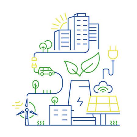 Vector lineaire illustratie van slimme stad en internet van dingen, toekomstige technologie voor wonen, slimme omgevingen, intelligente stedenbouw en stedelijke ontwikkeling. Mono lijn infographics ontwerp