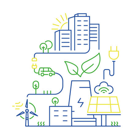 Vector linear illustration of smart city and internet of things, future technology for living, smart environments, intelligent urbanism and urban development. Mono line infographics design