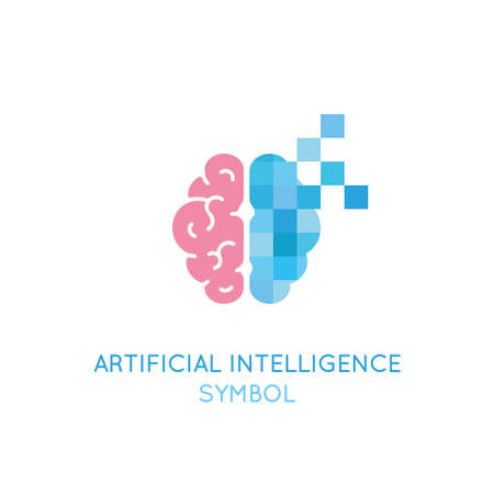Vector symbol related to artificial intelligence, machine learning, digital brain and thinking process. Artificial intelligence logo Illustration