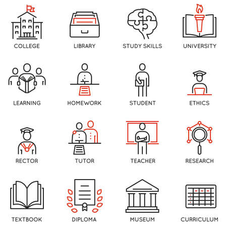 Vector set outline icons related to educational process, career progress, training, tutorship and professional consulting service. Mono line pictograms and infographics design elements - 1