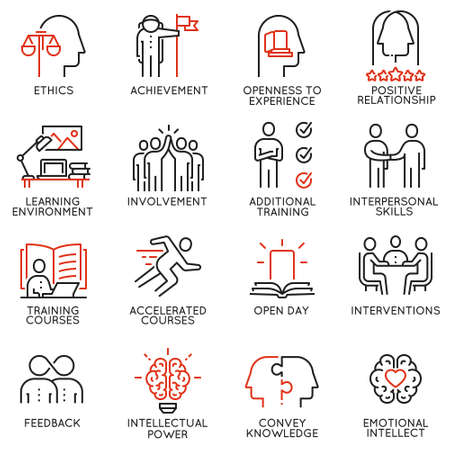 Vector set outline icons related to educational process, career progress, training, tutorship and professional consulting service. Mono line pictograms and infographics design elements - 3 Ilustrace