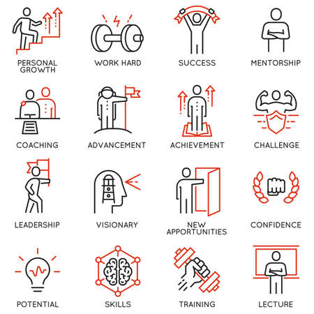 Thin icons related to career progress, coaching, business people training, tutorship and professional consulting service. Mono line pictograms and infographics design elements - part 4