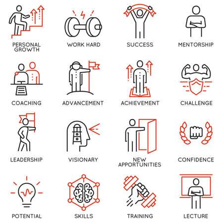 Dunne pictogrammen met betrekking tot loopbaanvoortgang, coaching, opleiding van zakelijke mensen, begeleiding en professionele consultingservice. Monolijnpictogrammen en infographicsontwerpelementen - deel 4 Vector Illustratie
