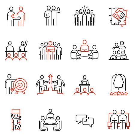 팀 작업, 인적 자원, 비즈니스 상호 작용에 관련 된 16 선형 품질 아이콘의 벡터 집합입니다. 모노 라인 그림 및 인포 그래픽 디자인 요소 - 2 부 일러스트