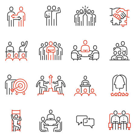 Set vettoriale di 16 icone di qualità lineare relative al lavoro di squadra, alle risorse umane, all'interazione aziendale. Pittogrammi di linea mono e elementi di design infografica - parte 2 Vettoriali