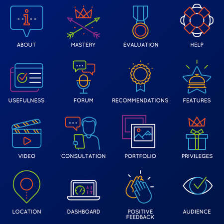 Vector set of linear color 16 icons related to feedback, review and customer relationship management. Mono line pictograms and infographics design elements - part 2 Ilustrace