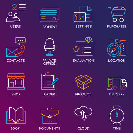 Vector set of 16 color linear icons related to business management and mobile processes. Mono line pictograms and infographics design elements