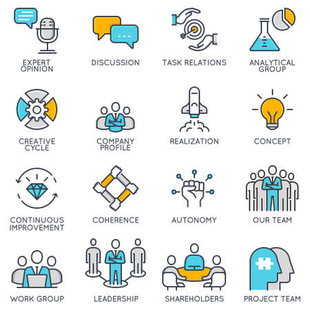 Vector flat linear icons related to business management. Ilustrace