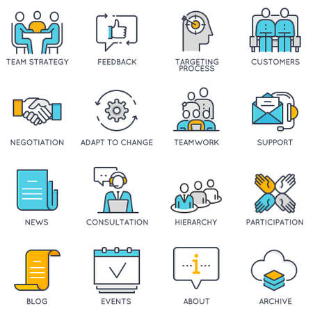 Vector platte lineaire pictogrammen met betrekking tot bedrijfsbeheer, strategie, loopbaanontwikkeling en bedrijfsproces. Platte pictogrammen en infographics ontwerpelementen - deel 2