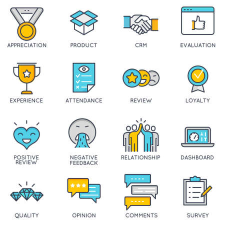 Flat linear icons related to  to feedback review and customer relationship management.