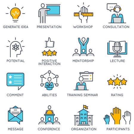 Płaskie liniowe ikony związane z postępem kariery, zarządzaniem przedsiębiorstwem, szkoleniem ludzi biznesu i profesjonalnymi usługami doradczymi. Ilustracje wektorowe
