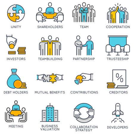 Icônes linéaires plates vectorielles liées aux processus métiers, travail en équipe et gestion des ressources humaines. Pictogrammes plats et éléments de conception infographiques