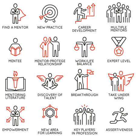 Vector set icons related to career progress, corporate management, business people training, tutorship and professional consulting service. Mono line pictograms and infographics design elements - part 4 Vectores