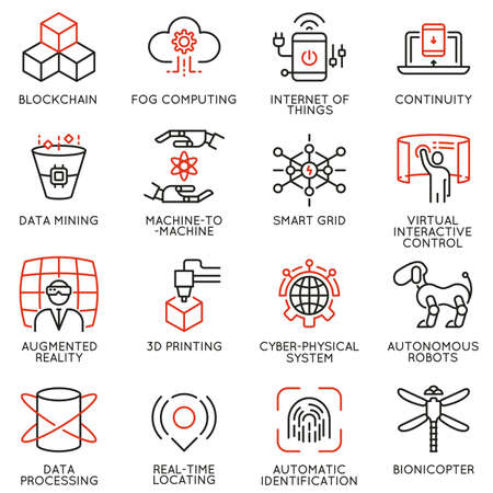 Vector set of 16 linear icons related to future innovation technology. Mono line pictograms and infographics design elements.
