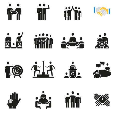 Vector set of icons related to team work, human resources, business interaction and relationship - part 1