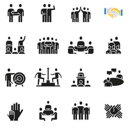 Vectorreeks pictogrammen met betrekking tot teamwerk, personeel, bedrijfsinteractie en verhouding - deel 1