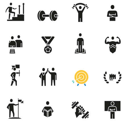 Set of icons related to career progress. Illustration