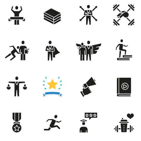 Set of icons related to career progress, business people training and professional consulting service includes books, winning, running, and many more.