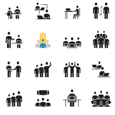 Vector set of icons related to team work, human resources, business interaction and relationship, Ilustrace