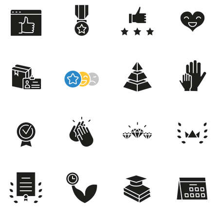 Vector set of icons related to customer relationship management, feedback, review and assessment.