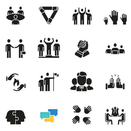 Vector set of icons related to team work, human resources, business interaction and relationship - part 3 Ilustrace