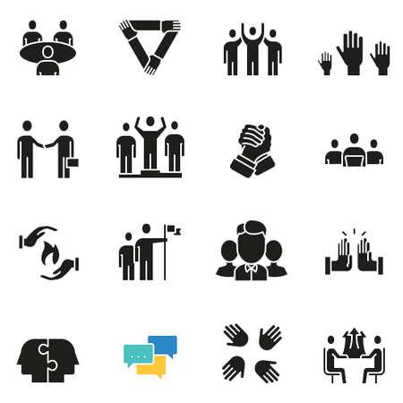 Vectorreeks pictogrammen met betrekking tot teamwerk, personeel, bedrijfsinteractie en verhouding - deel 3