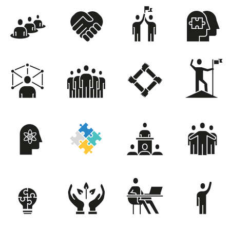Vector set of icons related to teamwork, human resources, business interaction and relationship - part 4