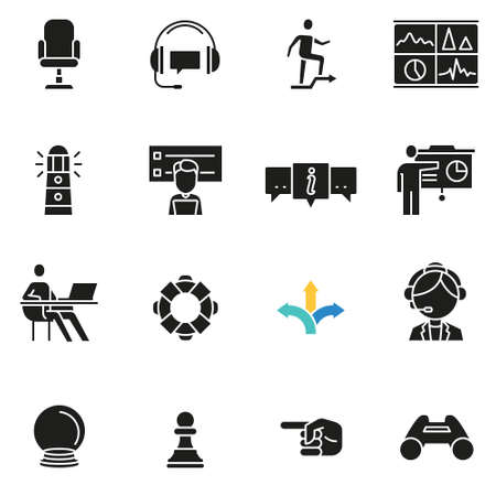 Icons related to business management.