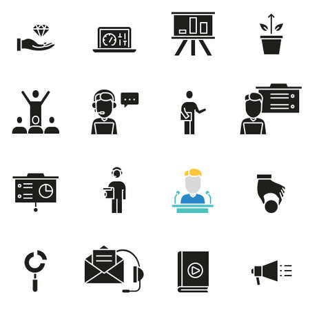 Vector set of icons related to business management, strategy, tactics, career progress and consultation - part 2