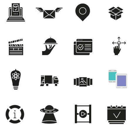Vector set of basic icons related to business management and processes of customer interaction Ilustrace