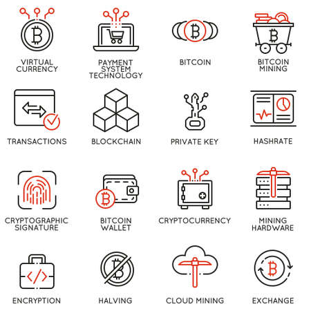 A Vector set of 16 linear icons related to virtual currency, digital money, cryptocurrency and bitcoin mining. Mono line pictograms and infographics design elements