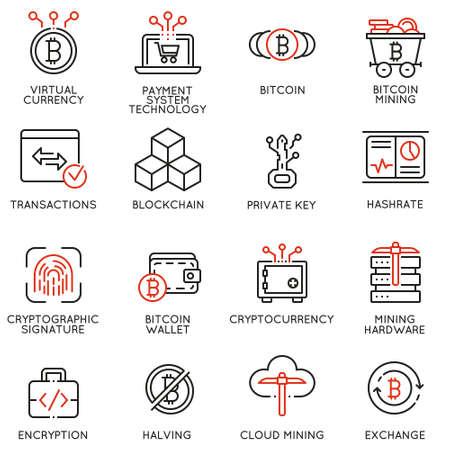 Wektor zestaw 16 liniowych ikon związanych z wirtualnej waluty, cyfrowych pieniędzy, kryptowaluty i wydobywania bitcoin. Piktogramy mono-line i elementy projektu infografiki