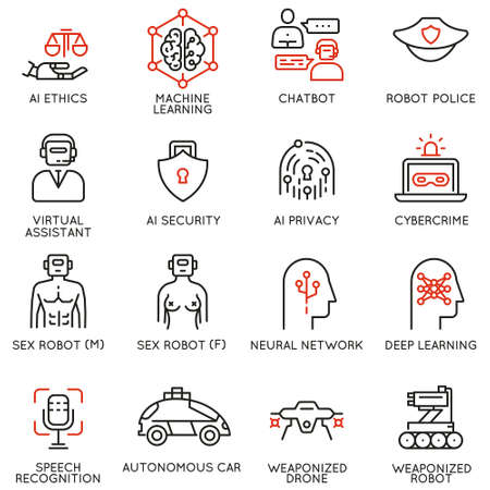 Set of linear icons related to artificial intelligence ethics and machine and deep learning. Mono line pictograms and infographics design elements Vector illustration
