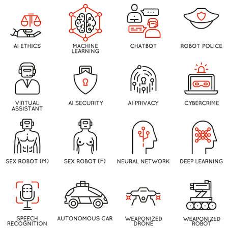 Ensemble d'icônes linéaires liées à l'éthique de l'intelligence artificielle et à la machine et à l'apprentissage en profondeur. Pictogrammes mono ligne et éléments de conception infographie illustration vectorielle