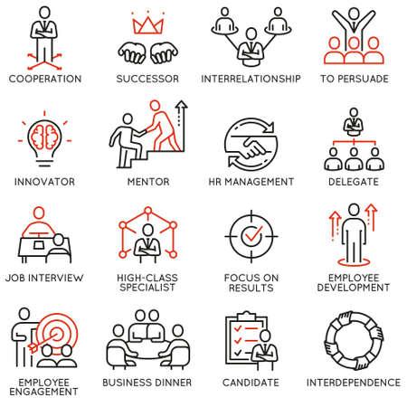 Ensemble d'icônes linéaires liées au processus d'affaires, à la relation et à la gestion des ressources humaines. Vecteurs