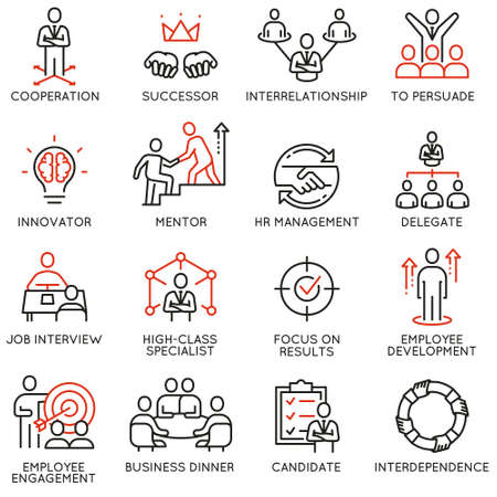 Set of linear icons related to business process, relationship and human resource management. Illustration