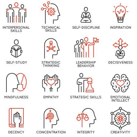 Ensemble de vecteur d'icônes linéaires liées aux compétences, au développement du leadership par l'autonomisation et aux qualités d'un leader. Pictogrammes mono ligne et éléments de conception infographiques