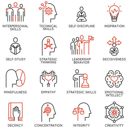 Vector set of linear icons related to skills, empowerment leadership development and qualities of a leader. Mono line pictograms and infographics design elements Illustration