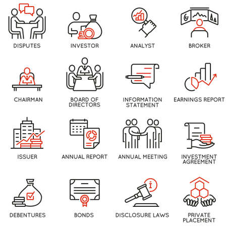 Vector set of linear icons related to business process, team work, human resource management and stakeholders. Mono line pictograms and infographics design elements Ilustração
