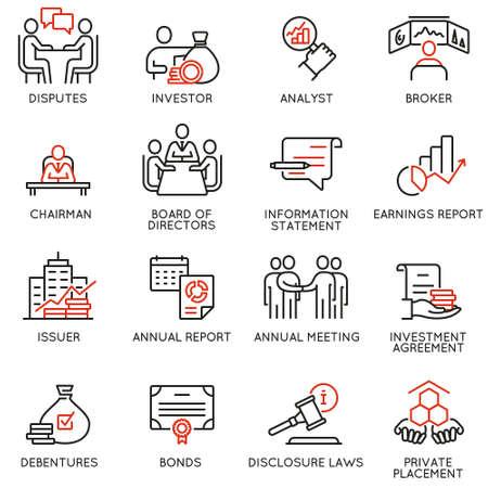 Wektor zestaw ikon liniowych związanych z procesami biznesowymi, pracą zespołową, zarządzaniem zasobami ludzkimi i interesariuszami. Piktogramy mono-line i elementy projektu infografiki Ilustracje wektorowe