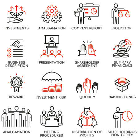 Vector set of linear icons related to business process, team work, human resource management and stakeholders. Mono line pictograms and infographics design elements - part 3 Çizim