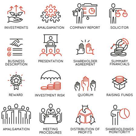 Vektorsatz lineare Ikonen bezog sich auf Geschäftsprozess, Teamarbeit, Personalmanagement und Interessengruppen. Einzeilige Piktogramme und Gestaltungselemente für Infografiken - Teil 3