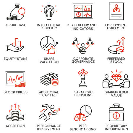 Vector set van lineaire pictogrammen met betrekking tot bedrijfsproces, teamwerk, human resource management en stakeholders. Monolijnpictogrammen en infographicsontwerpelementen - deel 4