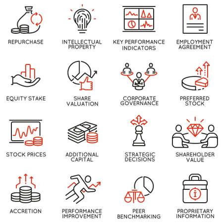 Vektorsatz lineare Ikonen bezog sich auf Geschäftsprozess, Teamarbeit, Personalmanagement und Interessengruppen. Einzeilige Piktogramme und Gestaltungselemente für Infografiken - Teil 4