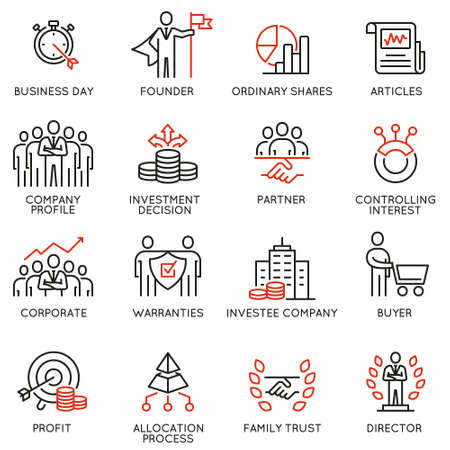Vector set of linear icons related to business process, team work, human resource management and stakeholders. Mono line pictograms and infographics design elements - part 5.